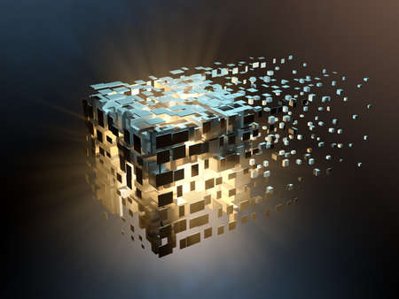 High tech cube disintegrating into cyberspace. 3D illustration.