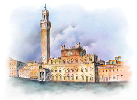 Piazza del Campo in Siena, Italy. Digital watercolor.