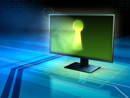 Computer monitor with a keyhole. 3D illustration. Stock Photo
