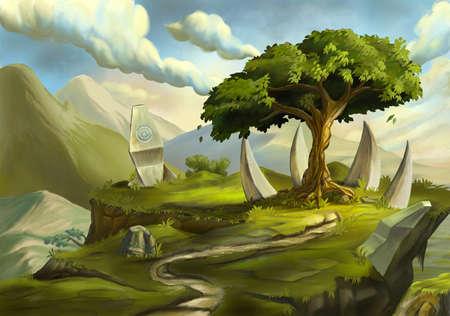 Sacred tree in a fantasy landscape. Digital illustration.