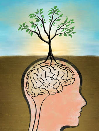 The roots of a tree creates a brain shape. Digital illustration, rough textures visibles at full size. Stock Photo