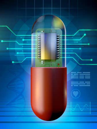 Microchip in a medicine capsule. 3D illustration. Stock Photo