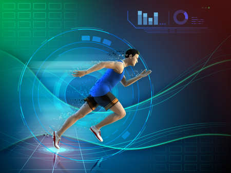 Male athlete running over a futuristic background. 3D illustration.