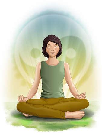 Girl meditating over a taijitu symbol. Digital illustration.