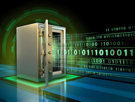 Stream of binary code entering a safe. 3D illustration.