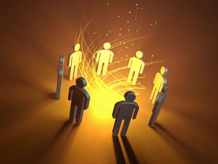 People icons gathering around a glowing orange light source. 3D illustration.