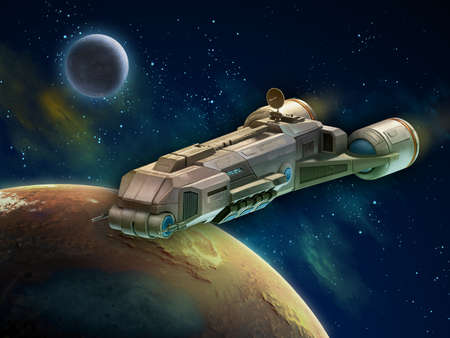 Spaceship travelling through a distant planet system. 3D illustration.
