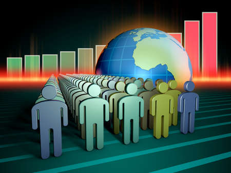 Growing human population and Earth. 3D illustration. Stock Photo