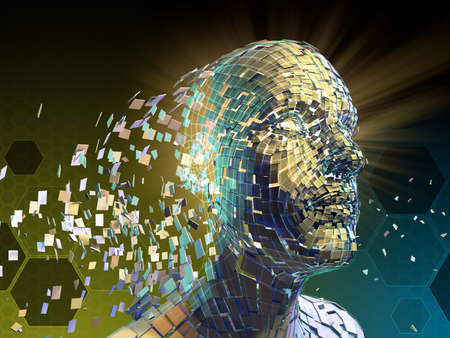 Human head breaking donw into small fragments. 3D illustration. Stock Photo