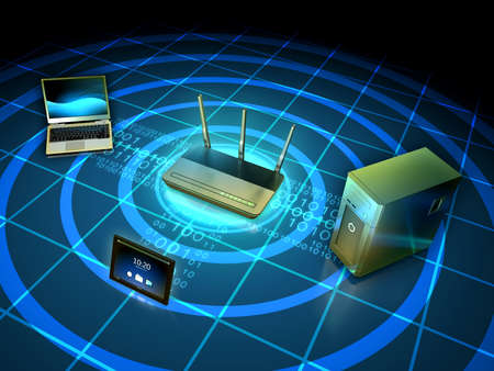 Wireless network connecting a laptop, workstation and tablet. 3D illustration. Stock Photo