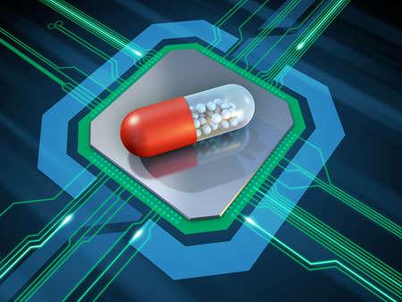 Drug capsule on a microprocessor. 3D illustration.