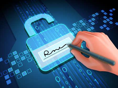 Podpis cyfrowy zapewnia dostęp do danych cyfrowych. Ilustracja 3D.