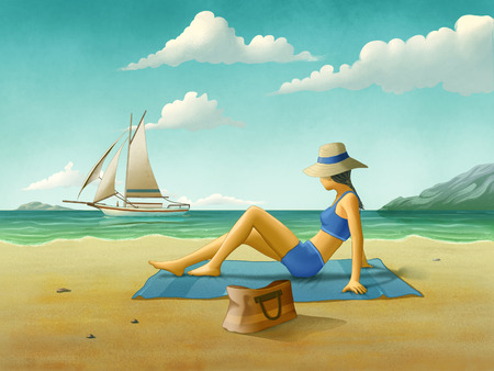 Girl relaxing at the beach, looking at a sailboat cruising in the sea. Digital illustration.