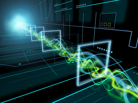 High technology background with some energy beams travelling through a tunnel. 3D illustration.