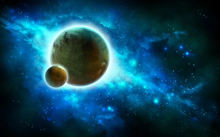 Gorgeous spacescape with two rocky planets and a blue nebula. Digital illustration.