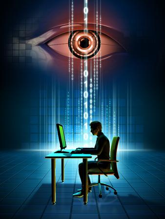 Monitoring online data. Digital illustration. Stock Photo