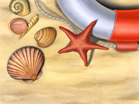 Seashells, starfish and a lifesaver on a sand background. Digital illustration.