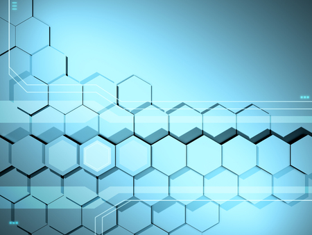 High technology background with an hexagonal pattern. 3D illustration.