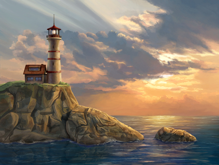 Lighthouse on a rocky coastal cliff at sunset. Digital painting. Reklamní fotografie