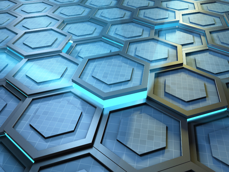 High technology background with tiled hexagon shapes making up a moving surface. 3D illustration.