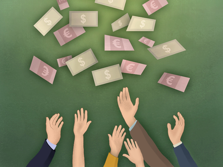 Raised arms trying to catch some falling banknotes. Digital illustration. Stock Photo