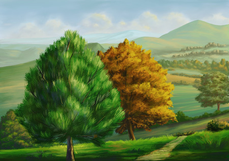 Country landscape with trees. Digital painting.