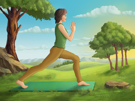 Young woman practicing yoga in a beuatiful landscape. Digital illlustration.