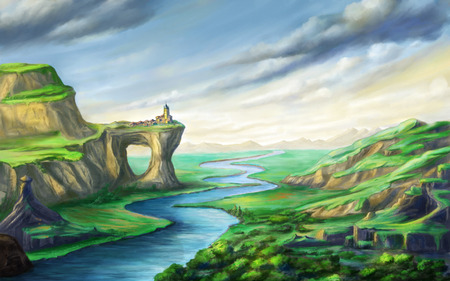 Fantsy landscape with a river and a small village on top of a rock arch. Digital illustration. Stock Photo