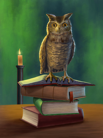 Wise owl perched on a pile of books. Digital illustration.