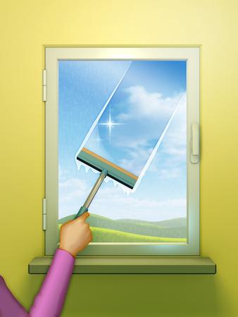 Window glass washed using a spong brush. Digital illustration.