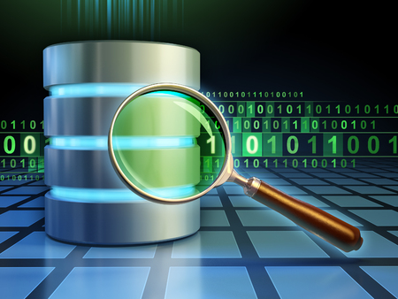 Database and magnifying lens over a binary code stream. 3D illustration.