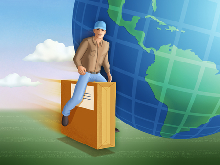 Delivery man riding a flying package. Digital illustration. Stock Photo