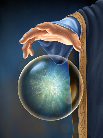 Wizards hand interacting with a floating magical orb. Digital illustration.