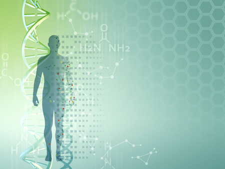 Genetic research background, can be used as a template for medical themed presentations. Digital illustration. Stock Photo