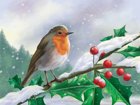 European robin perched on a branch in a snowy landscape. Digital painting.