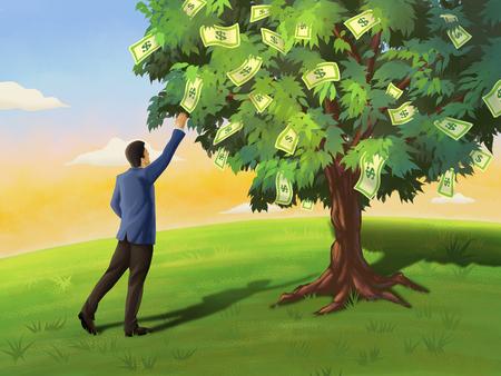 Businessman grabbing a dollar bill from a tree. Digital illustration.