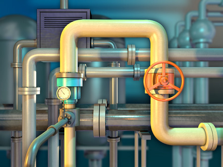 Industrial piping with shut off valve and a monitoring gauge. 3D illustration.