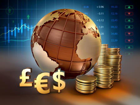 Currencies symbols and coins around an Earht globe. 3D illustration.