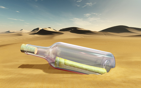 Message in a glass bottle, laying in a sandy desert. 3D illustration.