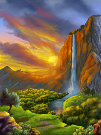 Fantasy landscape with waterfall at sunset. Digital painting. Reklamní fotografie