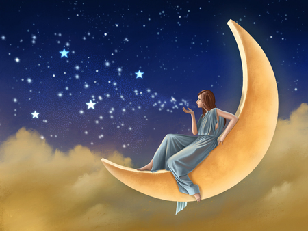 Girl on the moon, blowing stars and magic dust in the sky. Digital painting. Reklamní fotografie