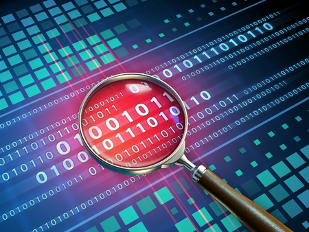 Magnifying glass inspecting some binary code. 3D illustration.