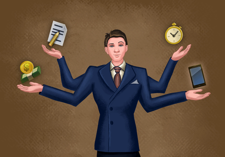 Businessman juggling multiple activities. Digital illustration. Stock Photo