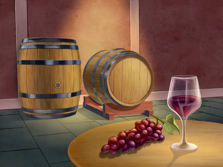Red wine cellar with some barrels, a wineglass and some grapes. Digital painting.