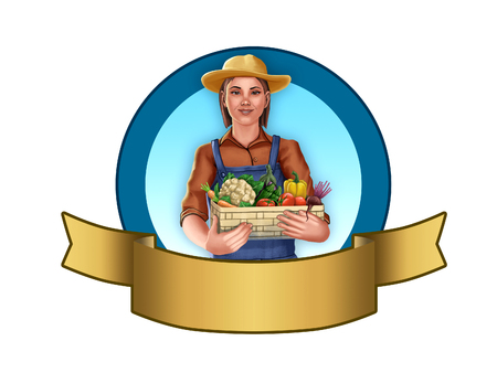 Farmer girl holding a vegetables basket. Label with empty space to insert your text. Digital illustration, clipping path included.