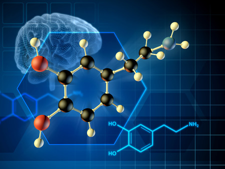 Dopamine molecule formula and 3D diagram. 3D illustration.