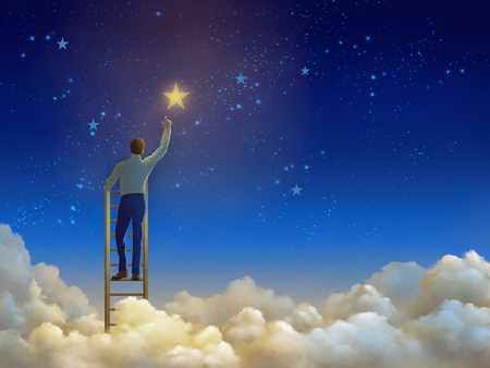 Man climbing a ladder over the clouds and reaching for the stars. Digital illustration. Stock Photo