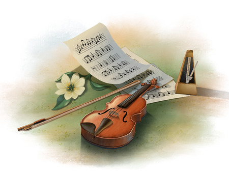 Still life with violin, metronome and some music sheets. Digital illustration. Stock Photo