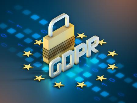 European general data protection regulation symbol and a lock. 3D illustration.