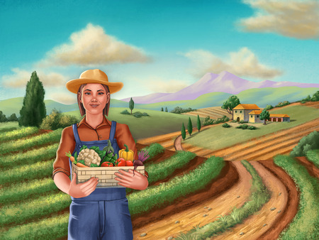Farmer girl, holding a vegetable basket, in a rural landscape. Digital illustration. Imagens